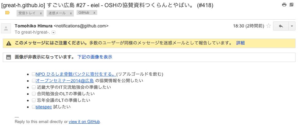 すごい広島のIssueの通知メールが迷惑メールに