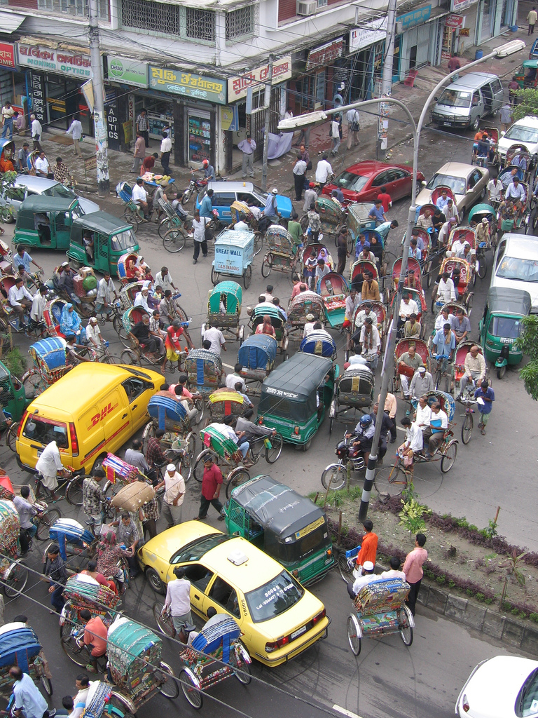 Is this what an Octopus merge looks like? - Dhaka traffic by Ranveig Thatta license CC BY 2.0