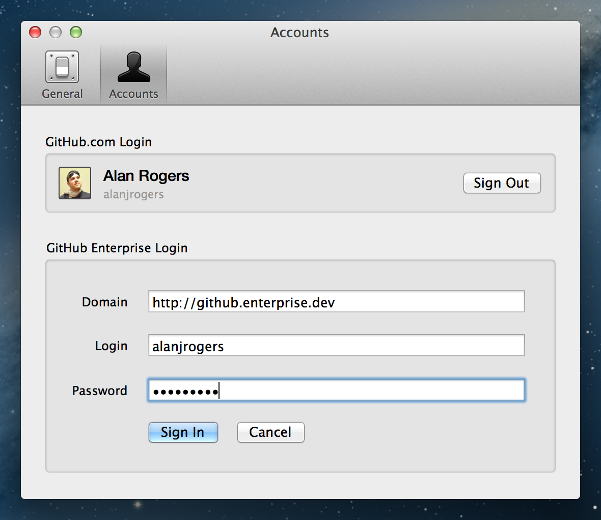 Enterprise login form