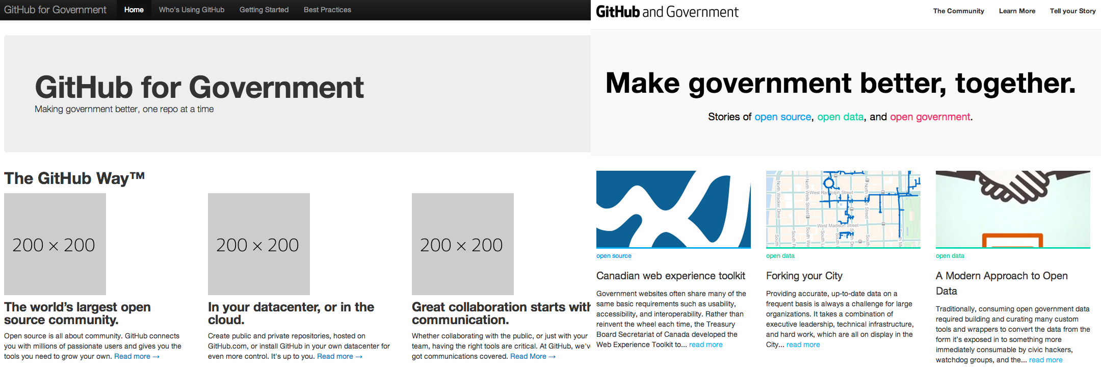 Initial commit of government.github.com, versus today