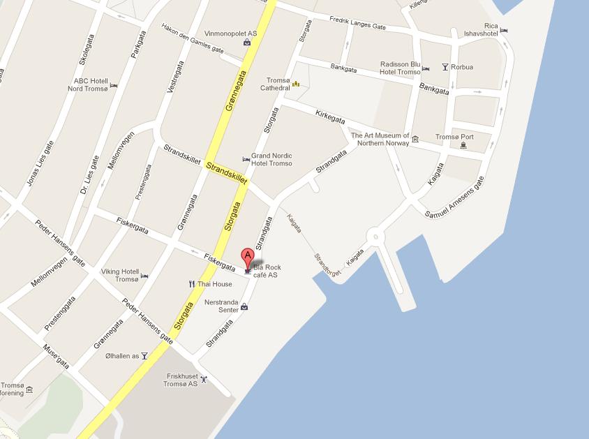 Map of Blå Rock Café