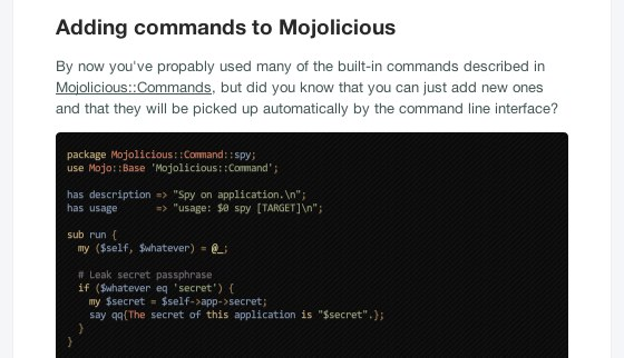 screenshot of adding commnds section of mojolicious cookbook