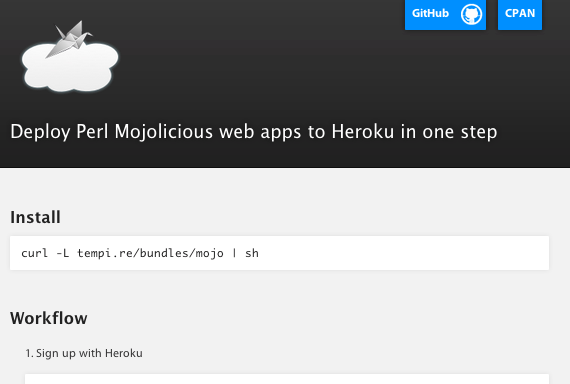 screenshot of mojo deploy website