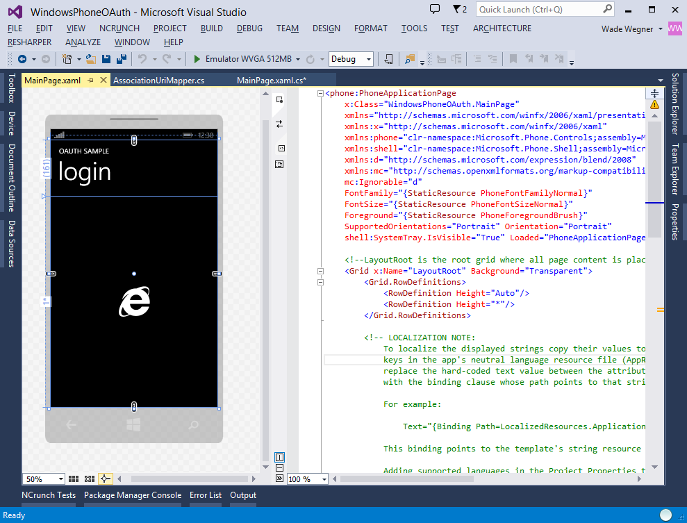 Visual Studio Phone App