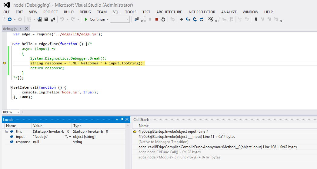 Edge.js debugging