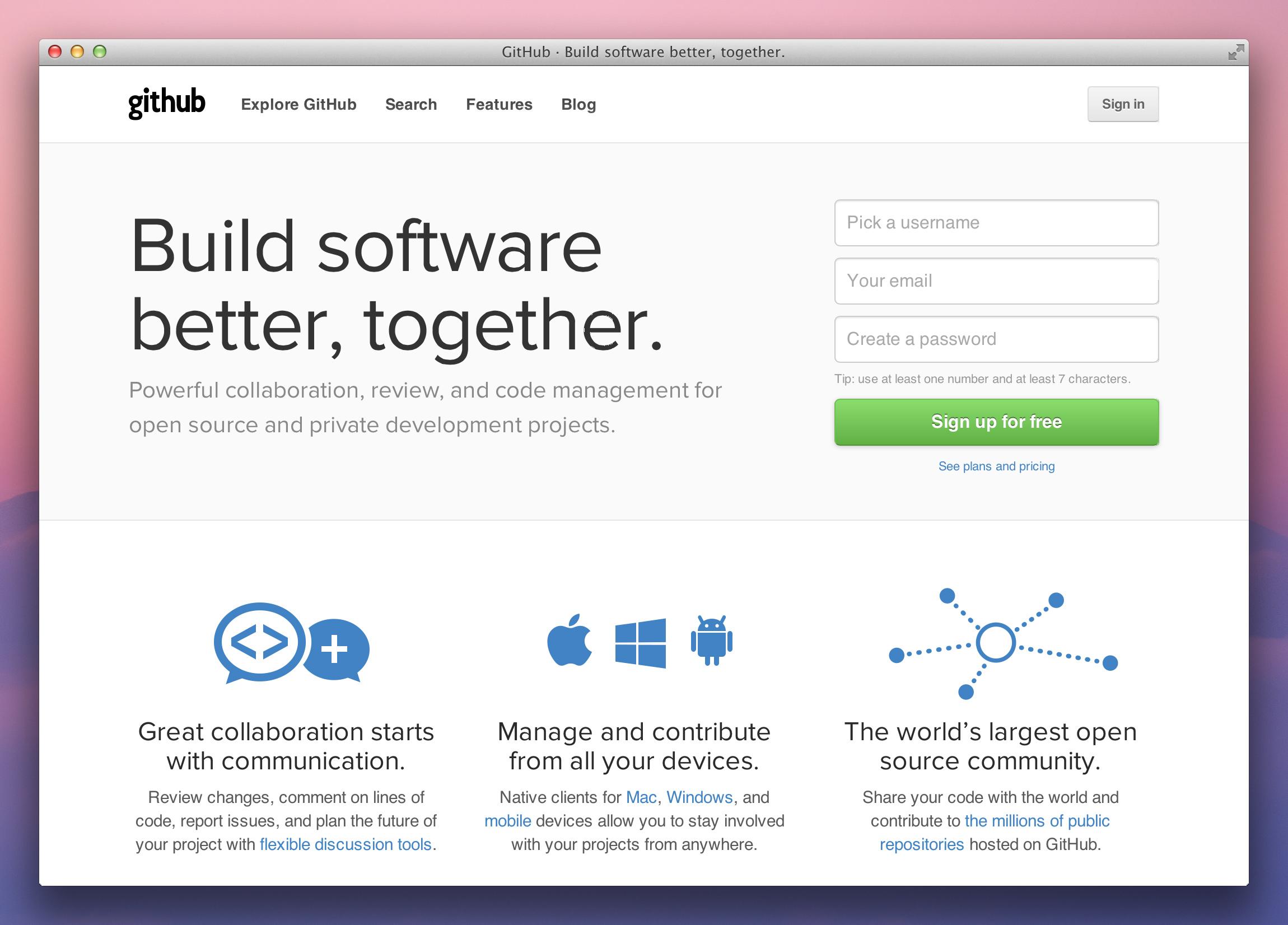 New GitHub homepage