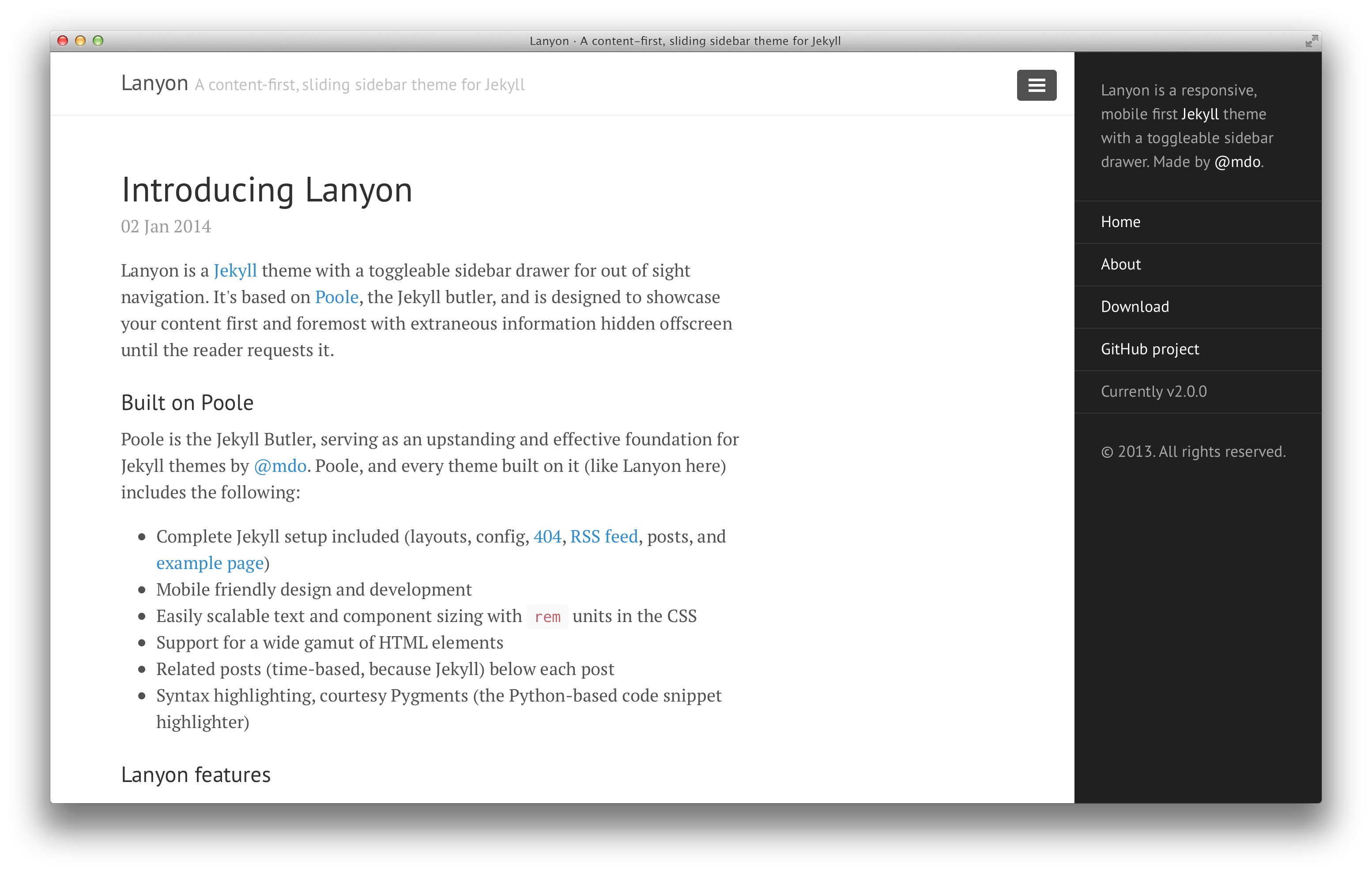 Lanyon with reverse layout and open sidebar